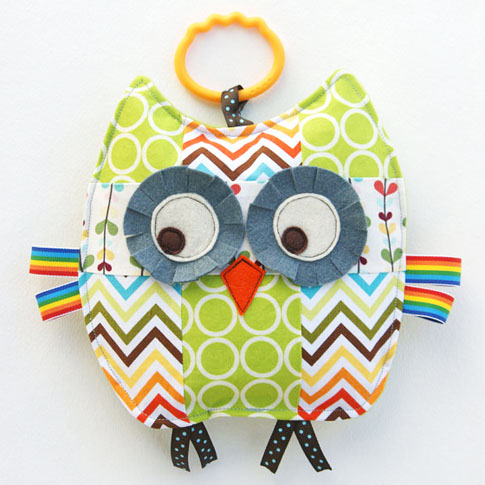 patchwork owl crinkle toy