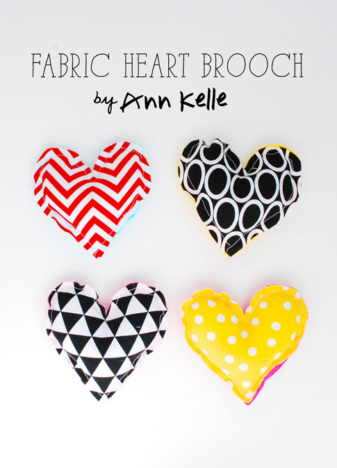 fabric heart brooch tutorial / ann kelle