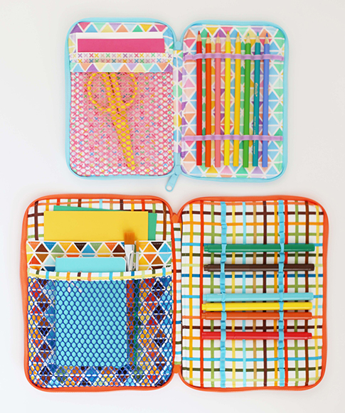 creative maker supply case pattern by sew sweetness / fabric by ann kelle