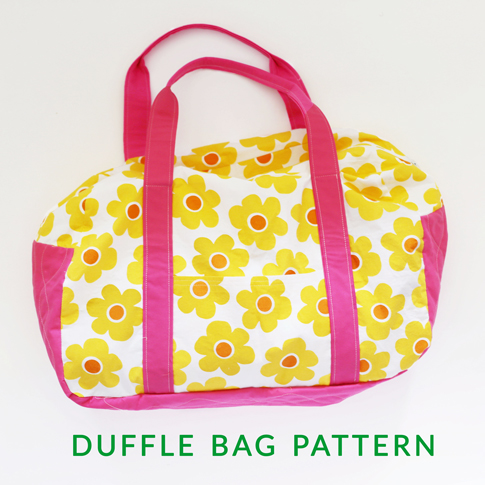 getaway duffle bag pattern by gingercakes / ann kelle fabric