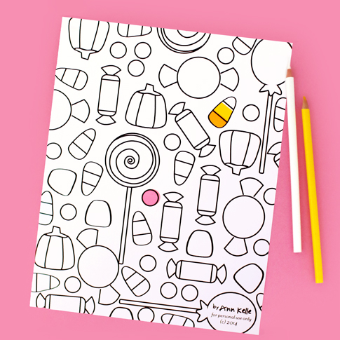 free printable coloring sheet by ann kelle