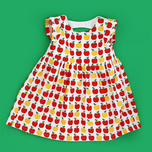 ann kelle apple fabric / london dressing sewing pattern by shwin designs / toddler dress