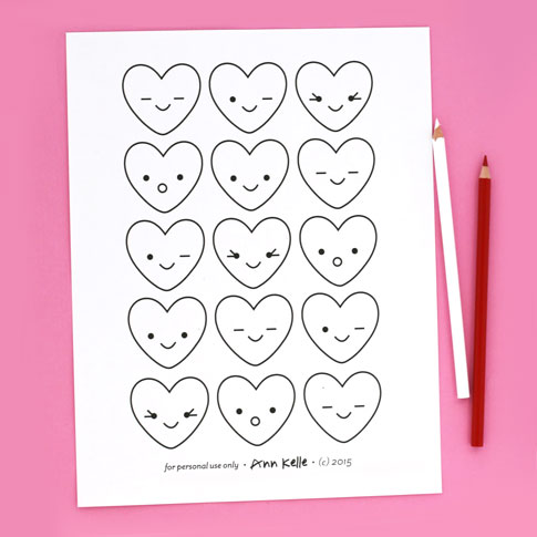 ann kelle valentines free coloring sheet / for personal use only
